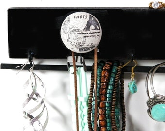 Jewelry Organizer, Paris France, Gay Parie'. Black Organizer, Glass Knobs. Hang Necklaces, Earrings, Bracelets & Rings. Great Gift Idea!
