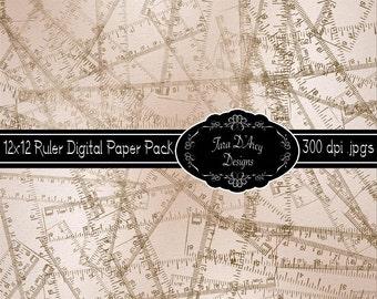 12x12 Digital Scrapbooking Paper - Ruler