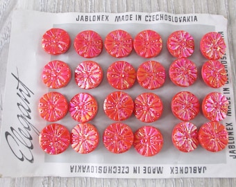 24 Vintage Czech Glass Buttons Salmon Coral Color Flower Floral Pattern Iridescent AB Button Lot Card 1950s 60s Molded Pressed Art Deco