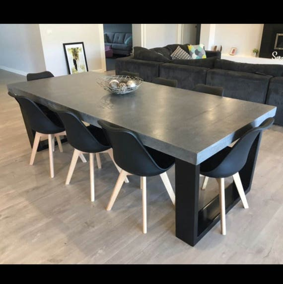 8 seater 24m dining table polished concrete patio