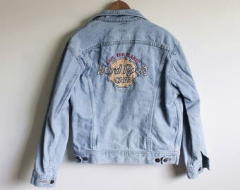 SMALL Vintage 1990s Hard Rock Maui Lee Riders Made in USA Embroidered Denim Jacket