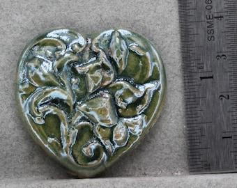Handmade Press Molded 40mm Heart Raku Ceramic Cameo Cabochon  Oscarcrow