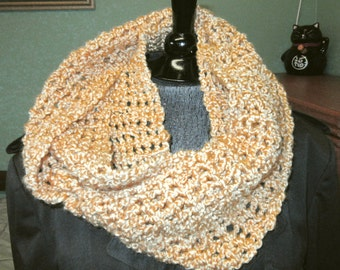 Gold Infinity Scarf Extra Long Loop Circle Cowl Mans Womans Oversize Chunky Unique Stylish Crochet knit Handmade Mothers Fathers Day Gift
