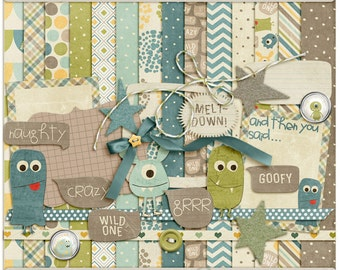 Digital Scrapbooking Kit with Monsters for Boys, Parenting, Everyday - Monstrously Cute INSTANT DOWNLOAD