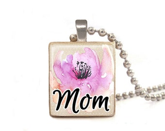 Mom Necklace | Mother's Day Jewelry Charm | Necklace for Mom | Pink Mom Pendant | Mom Flower Necklace | Wood Jewelry