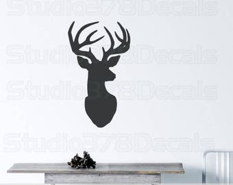 Deer Head Vinyl Wall Decal | Nursery Decor | Hunting Decal | Office Decor | Deer Head Silhouette Wall | Rustic Decor | Man Cave Decor |Lodge