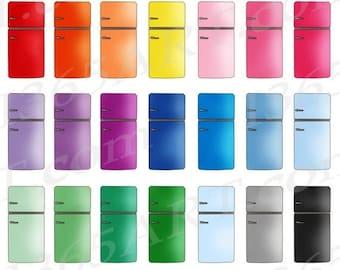 50% OFF Refrigerator Clipart, Fridge Clip Art, Retro Vintage Refrigerator, Appliances, Planner Icons, Digital Graphics, PNG, Commercial