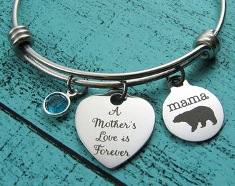 new mom gift, mom bracelet, Mama bear, baby shower gift, expectant mother gift, mommy jewelry, Mothers day gift, mothers love is forever