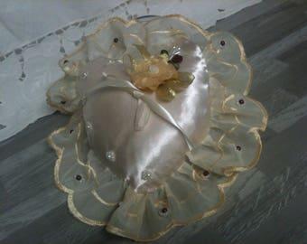wedding heart/cushion alliance/Pearl ivory/ivory/beige/ivory Ribbon lace ring pillow ivory/ivory wedding ring cushion