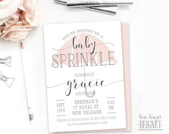 Umbrella Baby Shower - Baby Sprinkle Invitation - 5x7 Printable Invitation