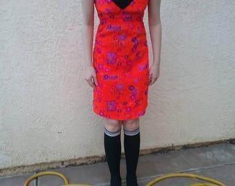 Vintage 60s Dayglo neon orange and pink flower Hawaiian print mini dress - mod - hippie