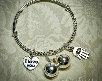 Hamsa Baby Bangle  -- Silver Heart Charm  -- Infant, toddler