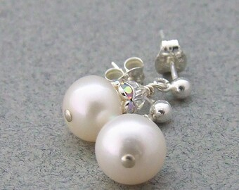 Freshwater White Pearl and Crystal Sterling Silver Earrings