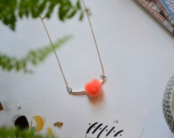 Silver Tube Necklace with Peachy Orange Pom Pom