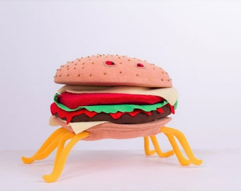 Cheespider - Cheese Spider toy - Cheese Spider Cloudy - Spider Burger Cloudy with a chance of meatballs 2 - stuffed Cheeseburger plush toy