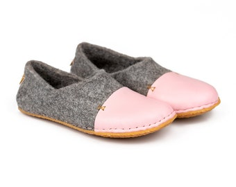 Felted Slippers with pink natural edge leather toe caps, Hygge felt slippers, Woodland housewarming gift ideas, Handmade Ethical clothing