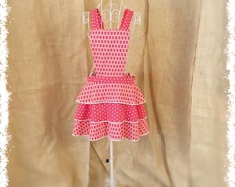 Retro Ruffle Skirt Apron / Hot Pink w/ White Polka Dots / Flirty Chic Vintage Style / Full Apron / Homemade / Handmade