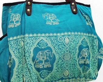 Women bag Handbags Thai Cotton bag Elephant bag Hippie bag Hobo bag Boho bag Shoulder bag Tote Diaper bag Everyday bag Purse Turquoise blue