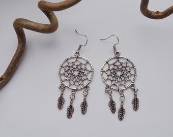Earrings - dream catcher - silver