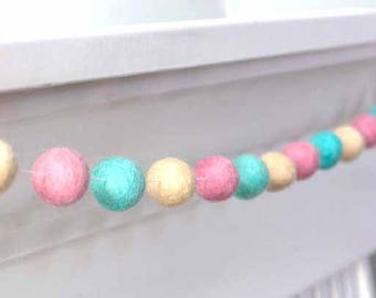 Spring Easter Decor- Pink, Aqua, Almond Felt Ball Garland-Pom Pom- Nursery- Party- Childrens Room