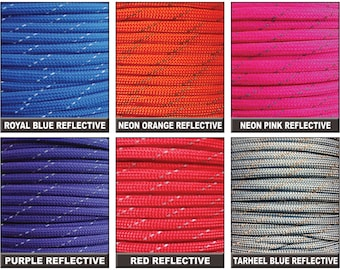 25ft of Reflective 550 Paracord Mil Spec Type III 7 strand cord Fast Shipping made in the U.S.A. over 130 colors