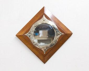 English Mahogany and Brass Porthole Mirror