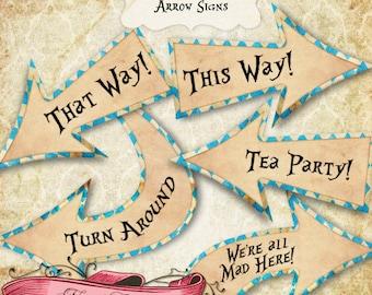 Alice im Wunderland Party Zeichen, Wonderland blauer Pfeil Zeichen, Alice Birthday Dekoration, druckbare Zeichen sofort-DOWNLOAD