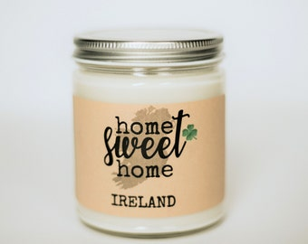 Home Sweet Home Ireland Soy Candle, Ireland Scented Candle Gift, Luck Of The Irish Candle, Erin Go Bragh Candle, St. Patrick's Day Gift