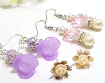 Rose Floral earring set of three (pastel pink/purple/ivory)