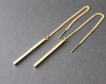 Gold Bar Threader Earrings// Bar and chain earrings // chain earrings - simple earrings