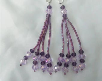 Lavender and Amethyst Beaded Nipple Tassels for Burlesque Pasties