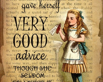 Alice In Wonderland Very Good Advice Given Retro Style Wall Metal Sign Plaque Home Decor Choose Your Own Size