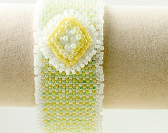 Peyote Stitch Cuff Bracelet in Yellow, Green and White/Seed Bead Bracelet/Beaded Bracelet/Spring Colors