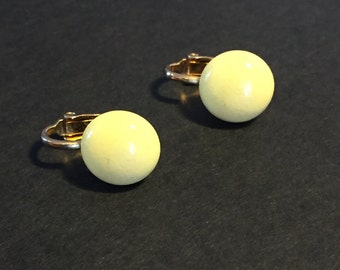 Vintage Yellow Disc / Circle Clip On Earrings