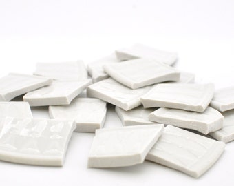 Broken China Mosaic Tiles - Solid White with Bow Tie Design - Textured - Large - Set of 18