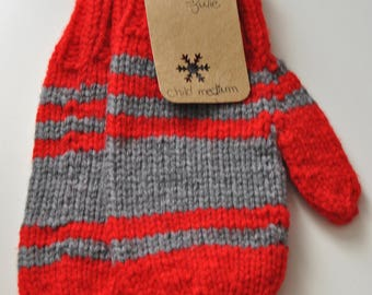 Ready made : red and gray striped mittens (child medium)