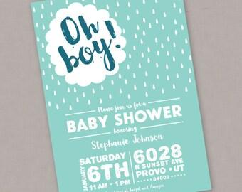 Custom PRINTABLE Boy Baby Shower Invitation - Digital File