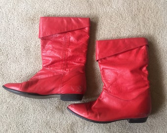 Vintage red boots, red leather boots, womens leather boots, size 37 boots, red boots, 90s boots, womens vintage boots, size 6.5 boots