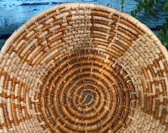 Hand Woven Coiled basket with Orange and Natural Colors Planter