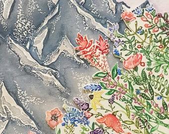 """Rocky Mountain Wildflowers 4x6"""" Framed"""