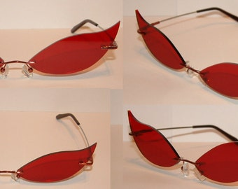 Red hook streached cosplay costume glasses V2