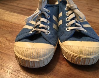 Blue sneakers kids size youth 1 - vintage - made in Czechoslovakia