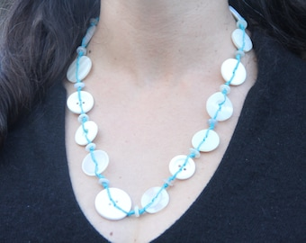 blue and white // button necklace // hemp twine // long chunky necklace // eco gifts