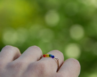 rainbow and water drop, glass and copper chain, summer nature ring