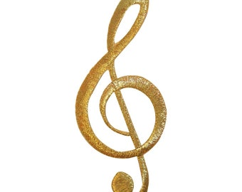 ID 9162 Treble G Clef Patch Note Music Pitch Symbol Embroidered Iron On Applique