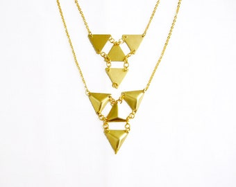 Triangle Geometric Necklace, Pyramid Bib Statement Necklace, Tiny Armor Collection
