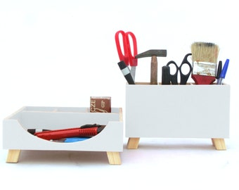 White Desk Organizer, Box Set, Wood Desktop set, Office Accessories, Wood desk organizer, Spring Home Decor, Mothers day gift