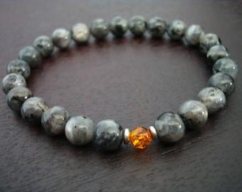 Men's Baltic Amber & Black Moonstone Mala Bracelet // Stress Relieving Mala Bracelet // Yoga, Buddhist, Meditation, Prayer Beads, Jewelry