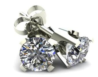 0.40CT Round Brilliant Cut Natural Diamond Stud Earrings 14K Gold, White Gold, 14k White Gold, Round Brilliant Cut, natural Diamond Studs