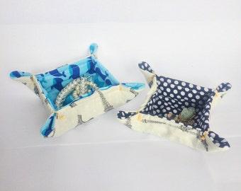 Blue Fabric Tray | fabric catchall | trinket dish | ring dish | fabric basket | desk organizer | jewelry tray | catchall | bedside basket